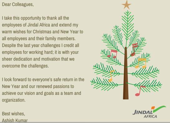 Jindal africa festive wishes ashish kumar chief executive officer of jindal africa wishes all employees a safe memorable festive season m4hsunfo